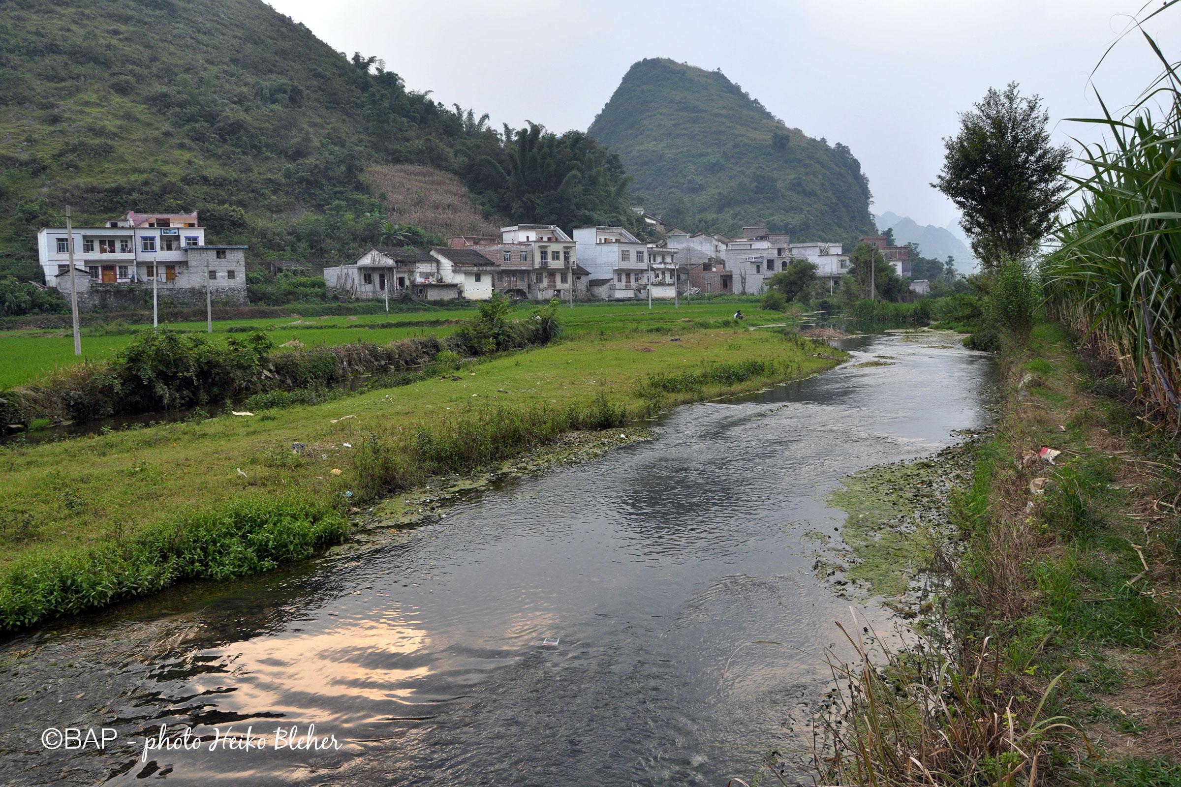 Jinchengjiang stream, Guangxi Province, China. Photo by Heiko Bleher