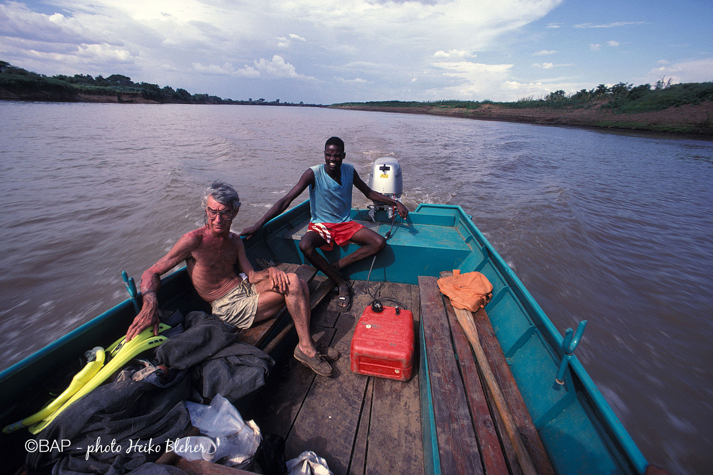 Going with a boat from Omorate down the muddy Omo River, Ethiopia. Photo by H. Bleher